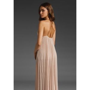 BCBG Beautiful Beige Grecian Pleated Maxi Dress